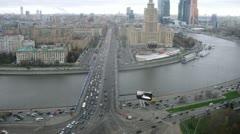 Moscow panorama of Novoarbatsky bridge with river Stock Footage