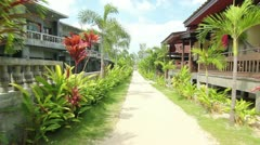 Tropical Beach Bungalows Stock Footage