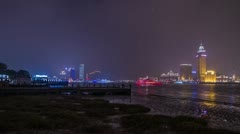 River Boat Traffic night view by Pudong Stock Footage