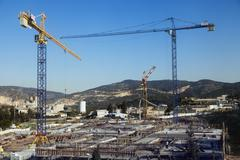 construction site among hills - stock photo