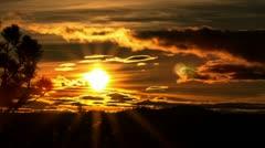 Golden lining sunset Stock Footage