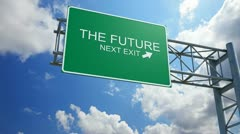The future - 3d highway exit sign Stock Footage
