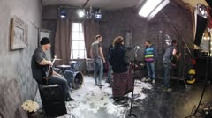 Video shooting for the last clip from Puppet Brain Band Stock Footage