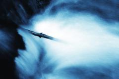 beautiful waterfall, artistic toned photo - stock illustration