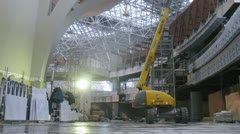 Workers constructing control tower in Vnukovo airport Stock Footage