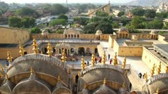 View on Jaipur from Hawa Mahal palace - India Stock Footage
