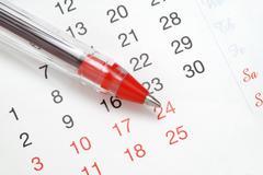 Pen on Calendar Stock Photos