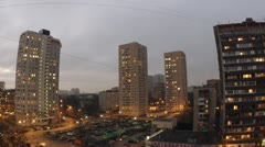 Evening city: city panorama, wide view. Timelapse Stock Footage