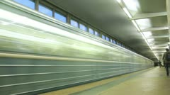 People using metro public transport in Vorobievy Metro Station Stock Footage