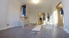 Workers renovating an apartment in Tsaritsyno Apartment Complex - stock footage