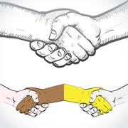 Set of shaking hands Stock Illustration