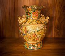 chine vase gold - stock photo