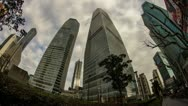 Pudong Skyscraper with cloudy Sky Stock Footage