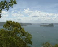 High angle View from Australian East coast at ocean bay + pan Stock Footage