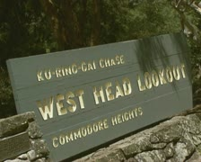Ku-ring-gai Chase - West Head lookout sign plate - stock footage