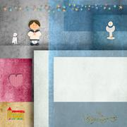 holy communion invitations,sailor boy,and frame for photo or text - stock illustration