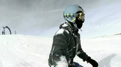 Stock Video Footage of Ski Downhill Side Cam 1