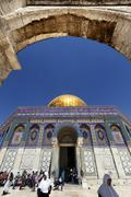 Tourists at dome of the rock Stock Photos