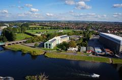 Aerial view of River Trent with boat, Nottingham, England Stock Photos