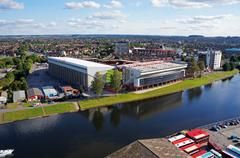 Aerial view of River Trent and Nottingham Forest City Ground football stadium Stock Photos