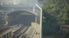 Stock Video Footage of subway through tunnel in beijing,haze pollution in urban city.
