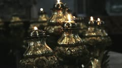 Candles in fancy gilt candelabra - stock footage