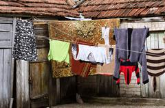 Laundry hanging outdoors Stock Photos