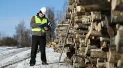 Lumberjack  with folder near at the log pile Stock Footage