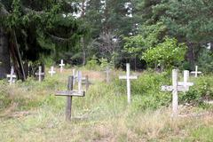 rotting crosses - stock photo