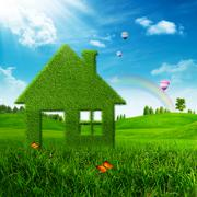 eco house. abstract environmental backgrounds - stock photo