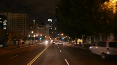 POV Time Lapse Driving of Downtown Los Angeles at Night - stock footage