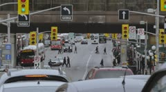 Traffic & pedestrians in downtown Ottawa Stock Footage