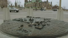 Canadian Parliament Buildings with scale model in foreground Stock Footage