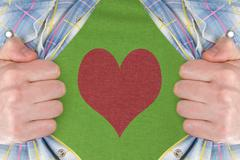the heart symbol on a green t-shirt - stock photo