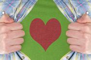 Stock Photo of the heart symbol on a green t-shirt
