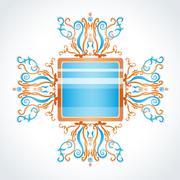 blue and orange brooch. - stock illustration