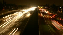Time Lapse of Busy Freeway at Night - stock footage
