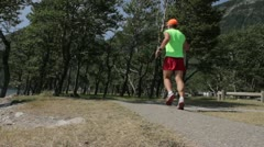 Male Jogger in National Park Stock Footage