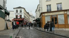 Montmartre street scene. Paris, France. Stock Footage