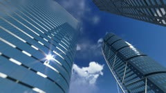 Corporate buildings and timelapse clouds Stock Footage