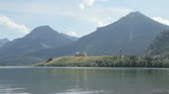 Kayakers on Waterton Lake Stock Footage