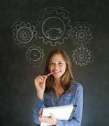 thinking business woman with gear cogs and hamster - stock photo