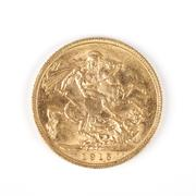 gold sovereign - stock photo