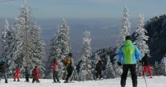 Ultra HD 4K Winter Landscape, Ski Resort in Beautiful Mountains in Cold - stock footage
