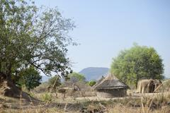 Remote village in south sudan Stock Photos