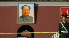 China Police on Beijing Tiananmen,MaoZeDong portrait & slogans. Stock Footage