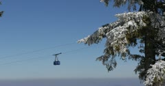 Ultra HD 4K Winter Landscape, Resort Cable Car in Beautiful Mountains in Cold Stock Footage