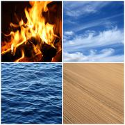 Fire, water, air, earth. Four elements. Stock Photos
