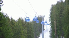 Ski lift cabin bansko ski center, blue elevator - bulgaria Stock Footage