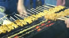 pork satae street food in Thailand - stock footage